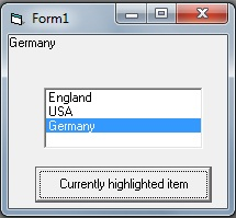 Text property to show the currently highlighted item in listbox