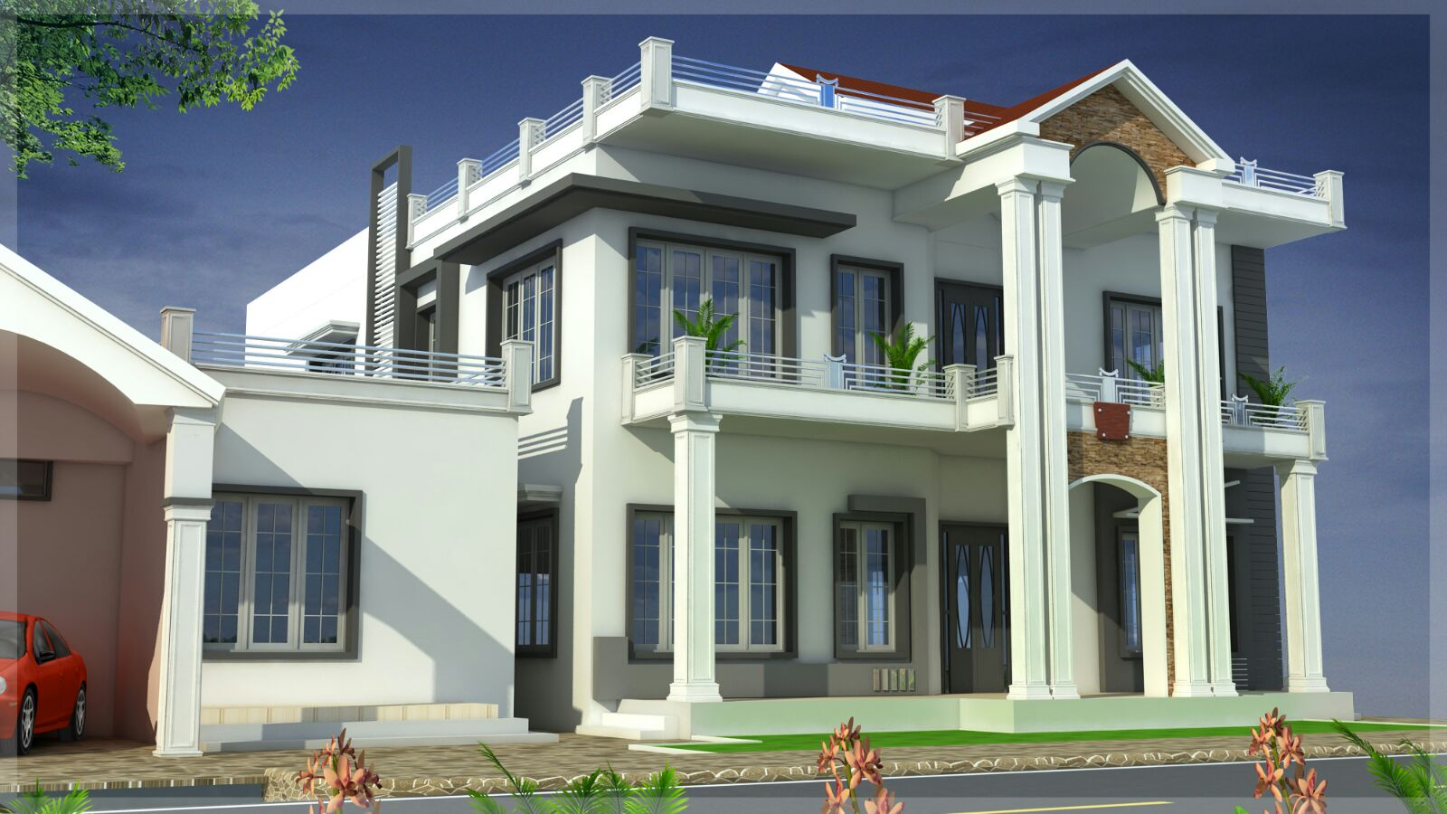 Duplex House Elevation Designs on front house elevation design