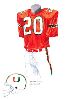 1983 University of Miami Hurricanes football uniform original art for sale