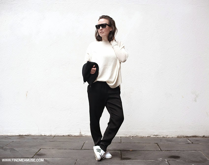 Celine ZZ top sunglasses Scanlan and Theodore alpaca knit Alexander Wang track pants Adidas Superstar Original Sneakers Larsson and Jennings watch Scanlan and Theodore crepe zip clutch