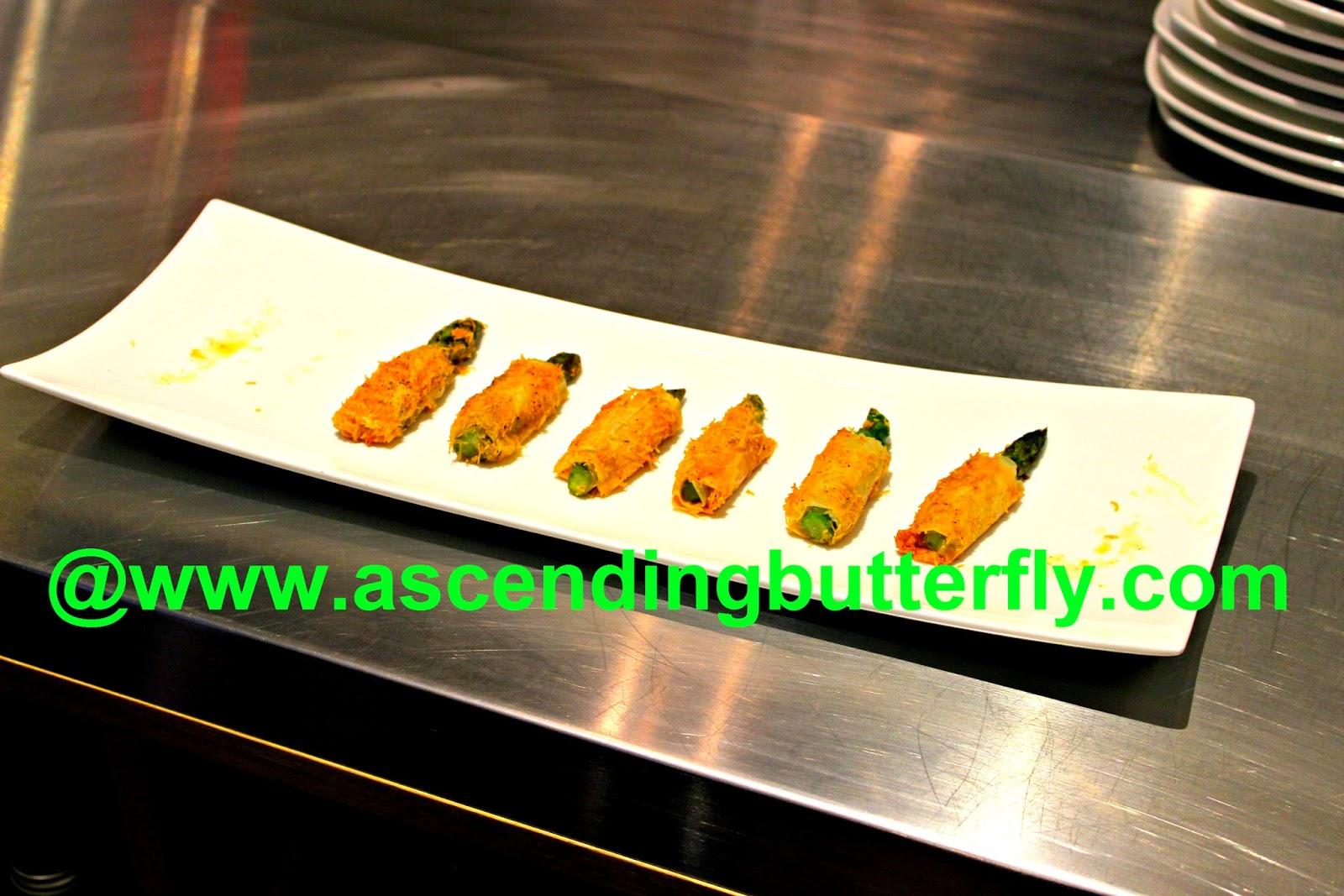 Plated Babeth's Feast Crispy Asiago Asparagus appetizer