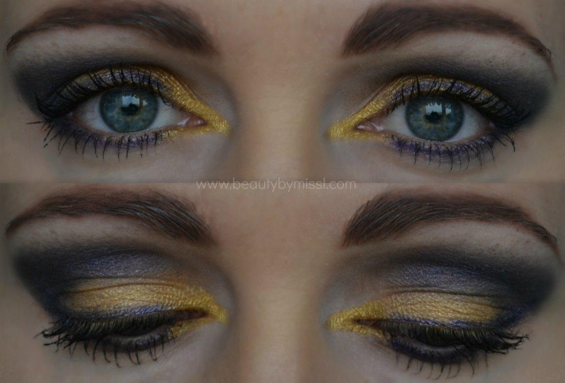 eye makeup, purple and yellow smokey eye