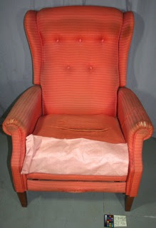 The Barcalounger before conservation treatment of the upholstery, textile historic repair and restoration