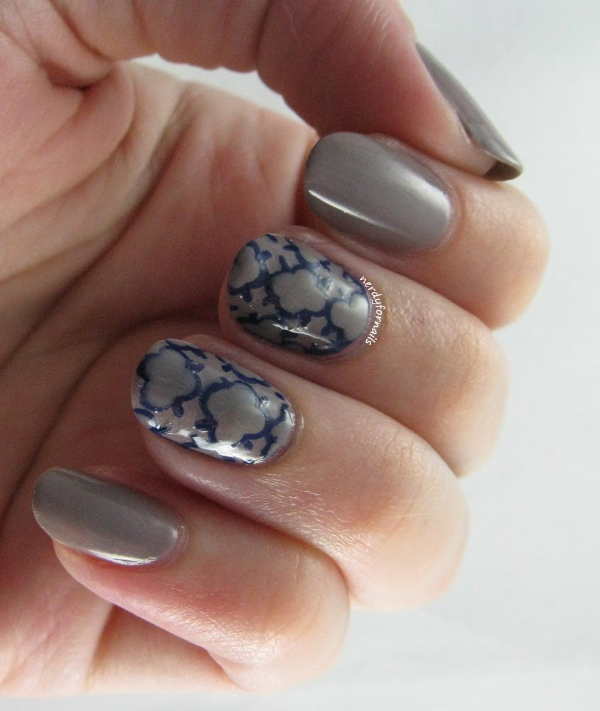 Nubbins- Quatrefoil nails with Essie Chinchilly