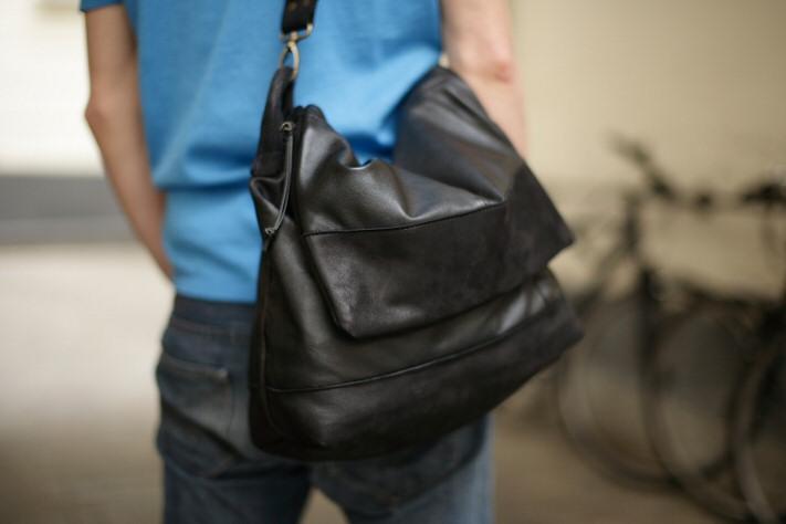 Besace Homme - Messenger en cuir noir