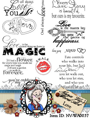 Love word art digital stamp set