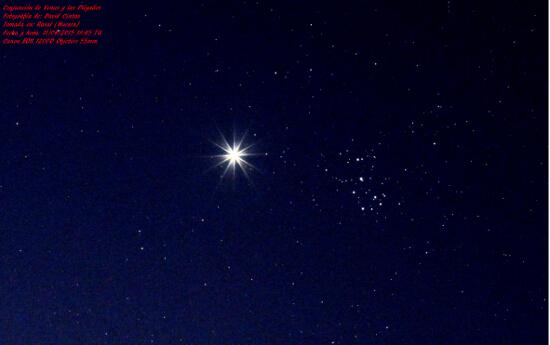 Venus y las Pléyades - El cielo de Rasal
