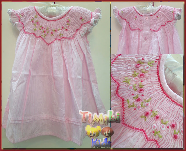 Áo đầm thêu tay móc xích -Smocked dress, made in vietnam, hàng lên từ vải xuất dư Châu âu.
