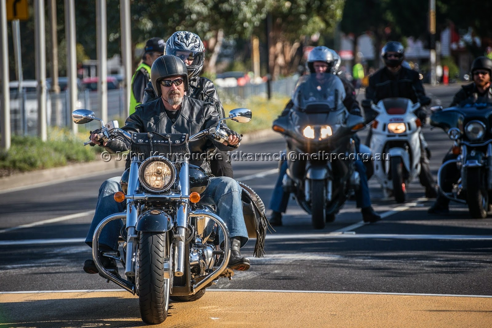 Harley Davidson arrives at Cranbourne Moto GP Run