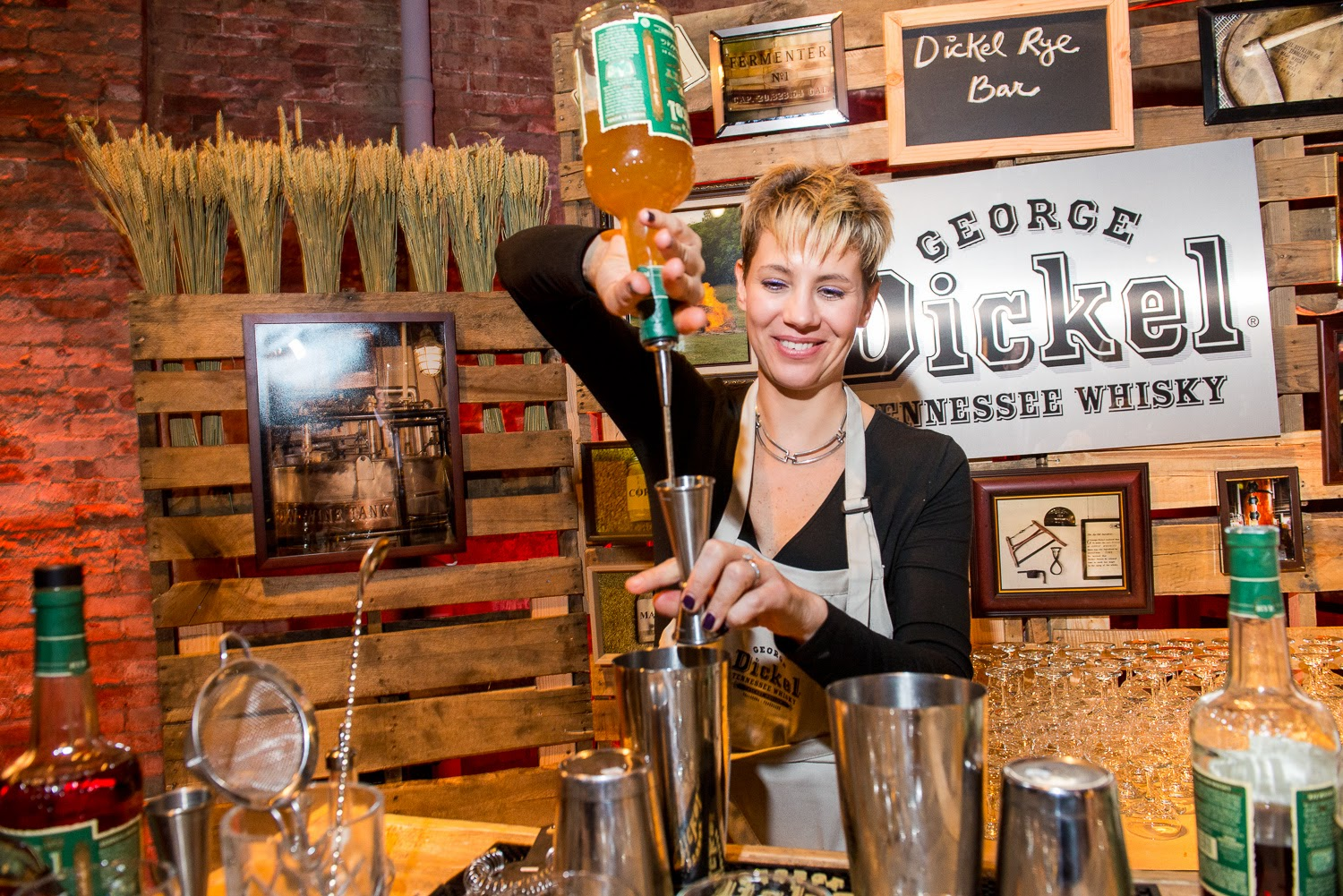 pouring george dickel whiskey