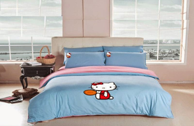 Tempat tidur hello kitty biru untuk anak