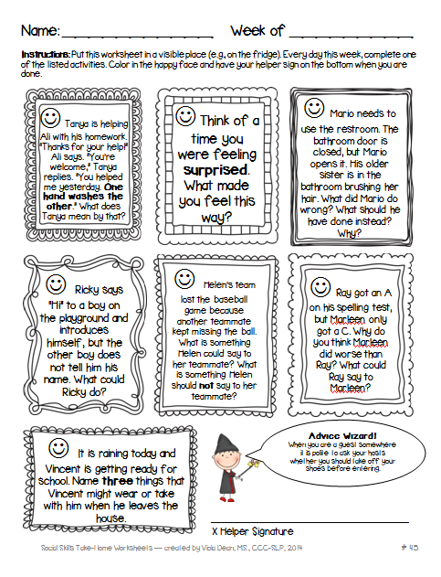 Worksheet Social Skills Problem Solving Worksheets the 8th word wonder speech language therapy blog social skills sample homework page