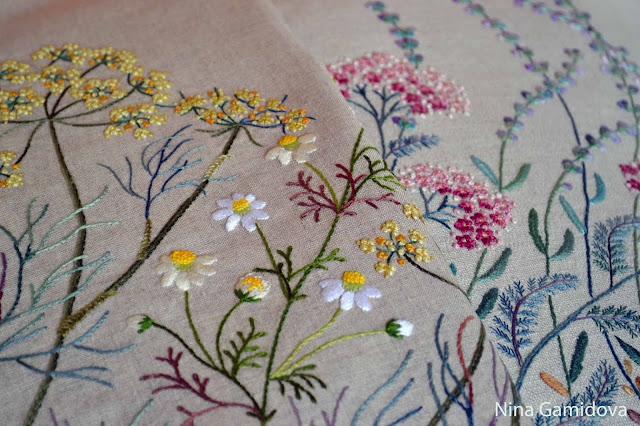 Вышивка декоративными швами.Процесс.