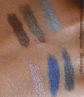 swatches laura mercier eyeshadows colour pencils caviar sticks smoke saphire amethyst cocoa khaki steel
