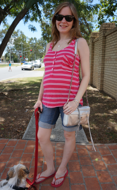 casual weekend outfit for second trimester pregnancy jeanswest maternity denim shorts