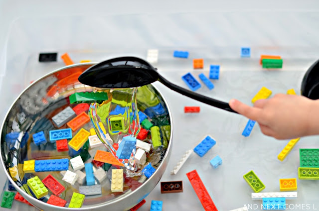 Fine motor water sensory play idea for kids using LEGO from And Next Comes L