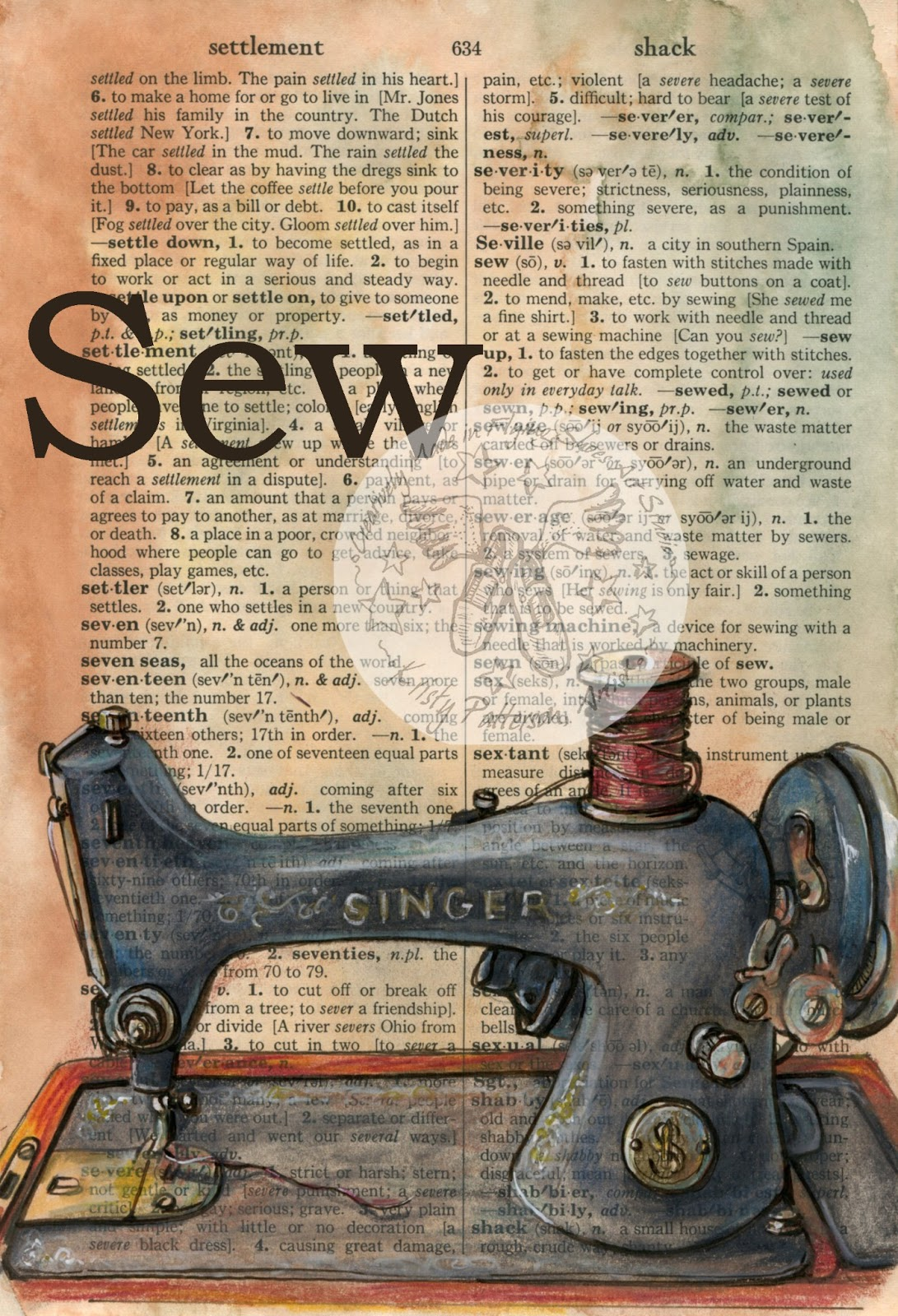 Sew Mixed Media Drawing On Distressed Dictionary Page