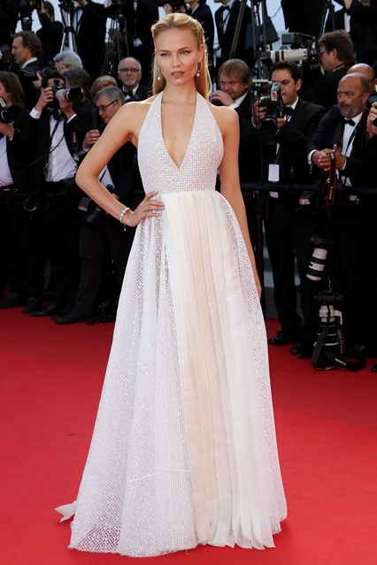 Natasha Poly in a white Vionnet dress at Cannes 2014