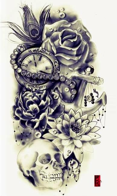 ♥ ♫ ♥ I would change the rose to a sonflower, other flowers, skull, peacock feather, pocket watch, anchor & add my son's name! ♥ ♫ ♥