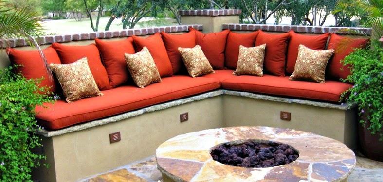 Banquetas con almohadones o cojines decorativos patios y - Cojines para jardin ...
