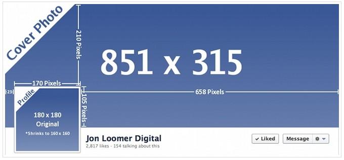 Untuk ukuran photo cover facebook adalah: 851 x 315 pixels.