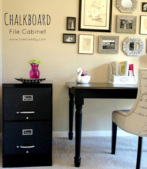 Chalkboard Paint File Cabinet | LiveLoveDIY