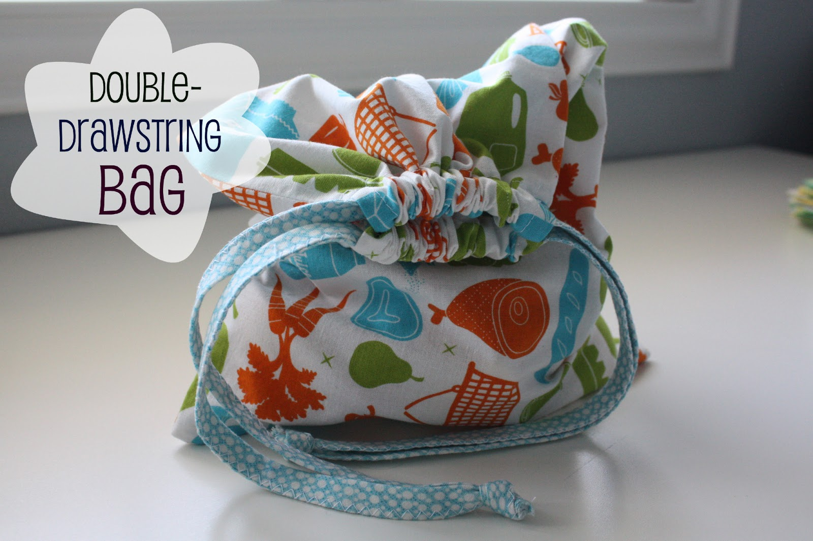Nicole at Home: Tutorial: Double-drawstring bag