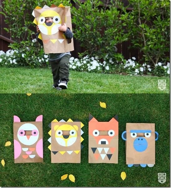 Con bolsas grandes de papel y cartulina podemos hacer unos animales