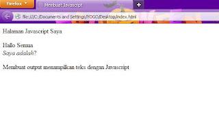 Menampilkan Javacript pada HTML
