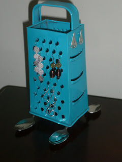 Upcycled Cheese Grater Earring Stand Teal Blue Spoon Feet