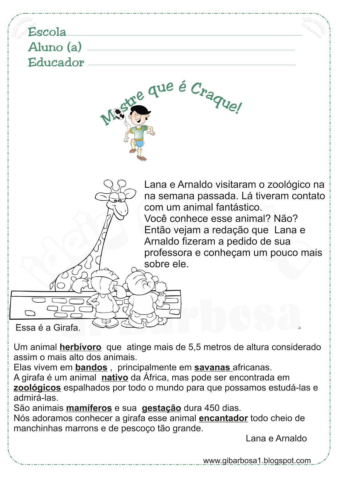 Atividade Texto e Interpretação Texto Informativo Girafa