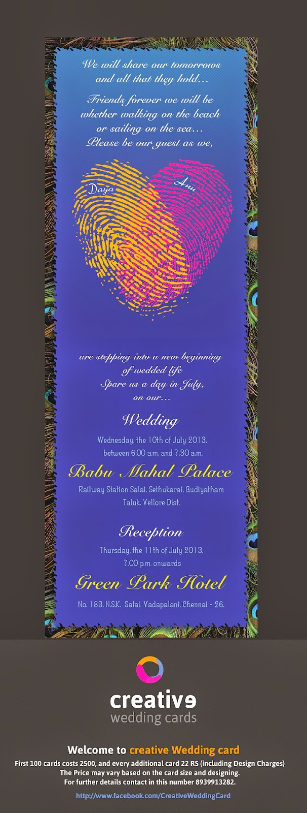 Creative Wedding Cards Madhesh Arthanarisamy Creative Wedding