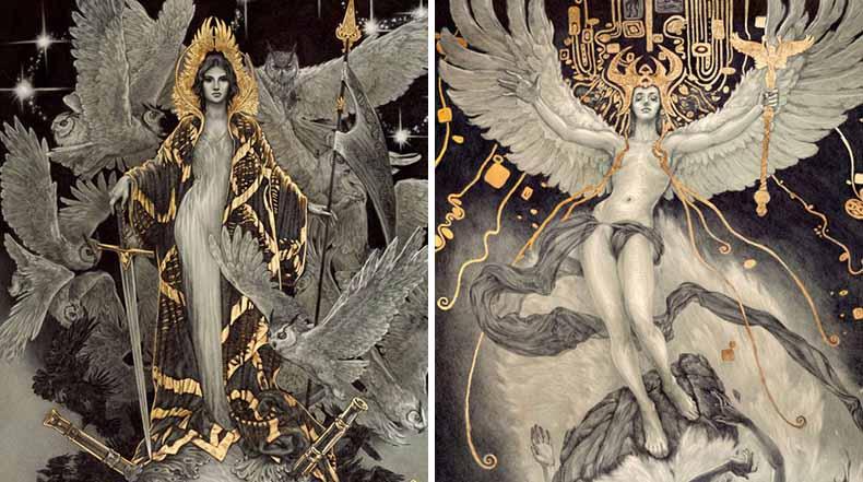 Ilustraciones con bolígrafo y pan de oro de Rebecca Yanovskaya