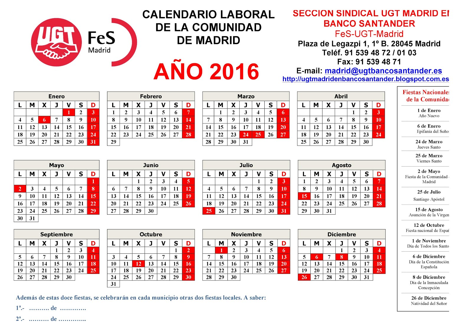 CALENDARIO LABORAL 2016 (imprimible)