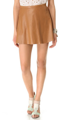 Love Leather camel mini leather skirt
