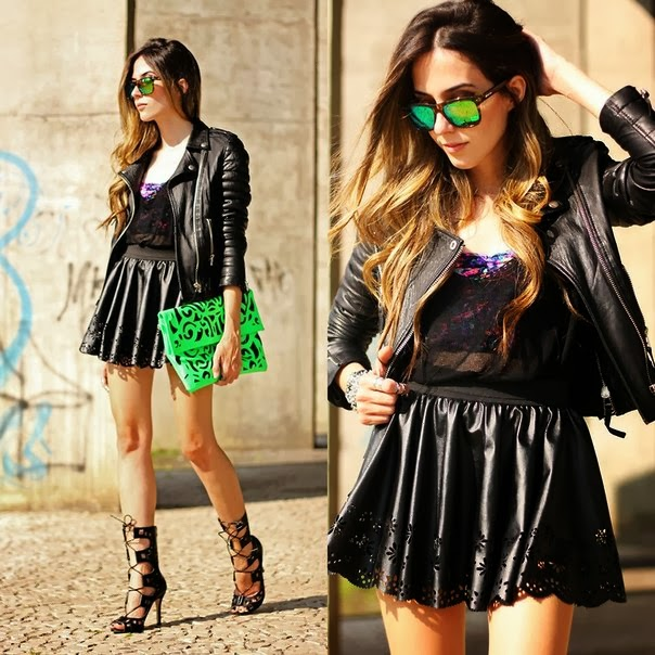Amazing, Mini, Leather Skirt with Black Leather Jacket, Stylish Heeled Shoes and Green, Patterned Modern Clutch, Fashionable Glasses