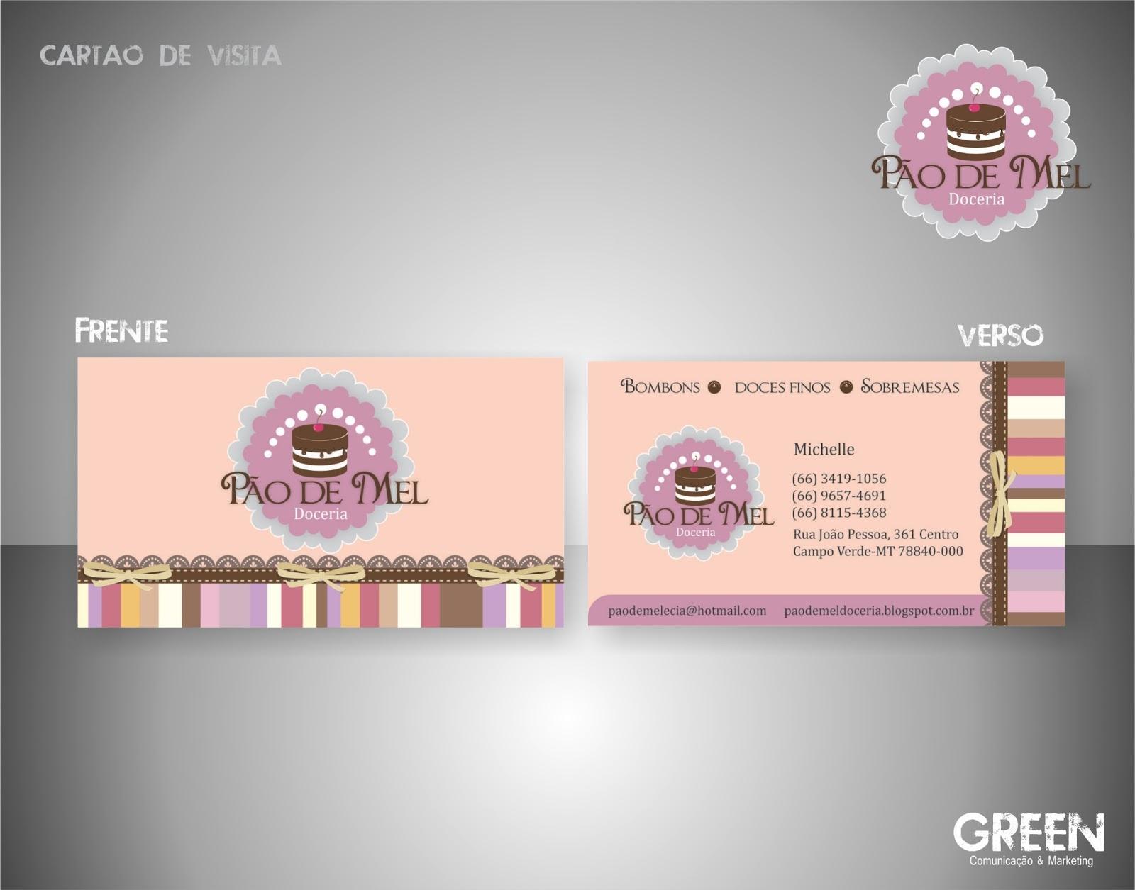 Famosos Green Comunicaçao e Marketing: Cartão de Visita - Pão de Mel Doceria ZB59