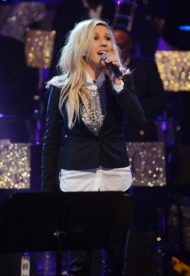 Ellie Goulding was dressed fashionably but warmly, gracing the audience at New York, NY, USA on Wednesday, December 31, 2014.