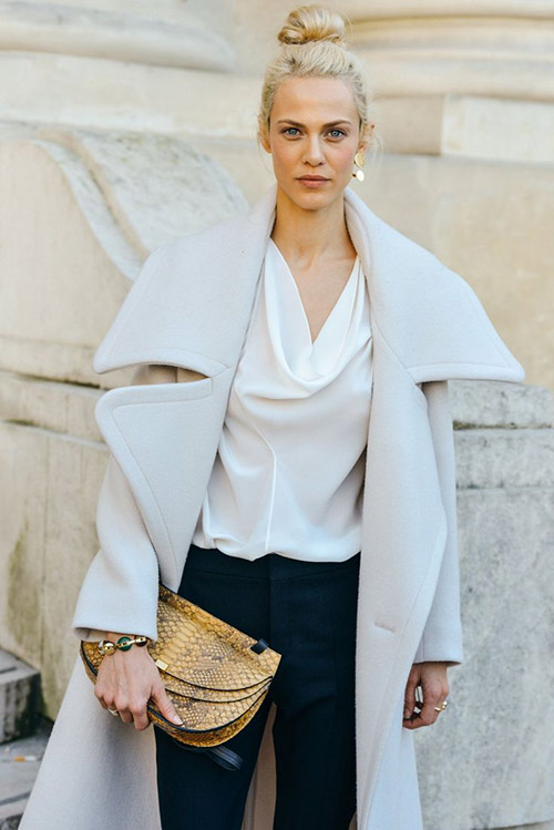 fall style inspiration, structured pants, street style, clutches, overcoats