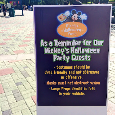 for the specific rules and guidelines refer to the costume guidelines on disney parks website - Halloween Party Rules