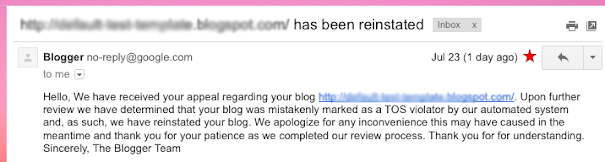 Blogger restored my blog
