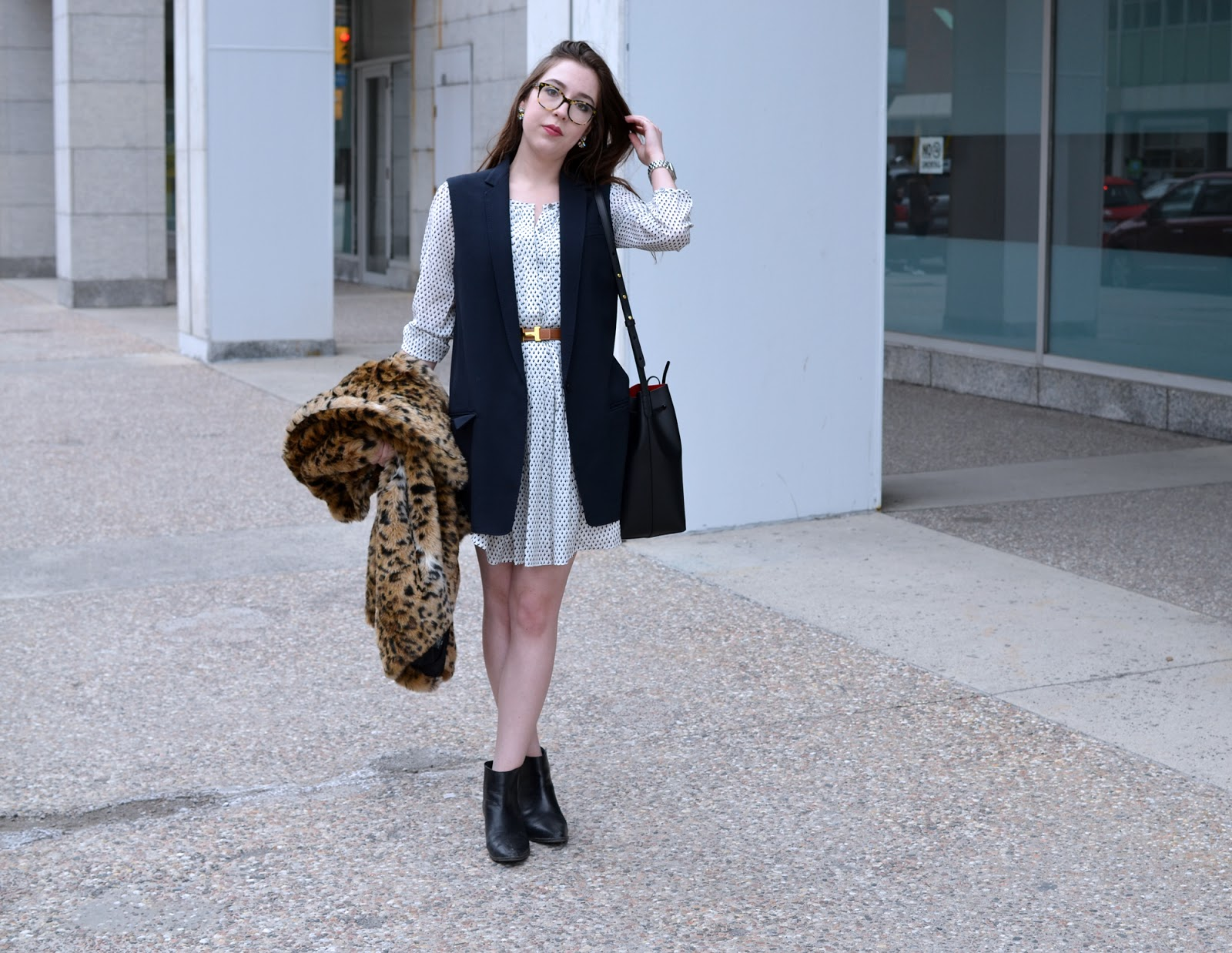 OOTD with a dress from Club Monaco, a Rag & Bone vest, Aritzia leopard coat, Mansur Gavriel bucket bag, and Zara Chelsea boots