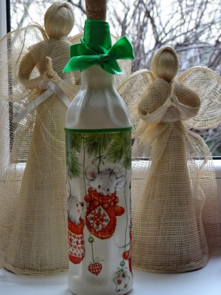 dekoracje na Boże Narodzenie, butelka decoupage