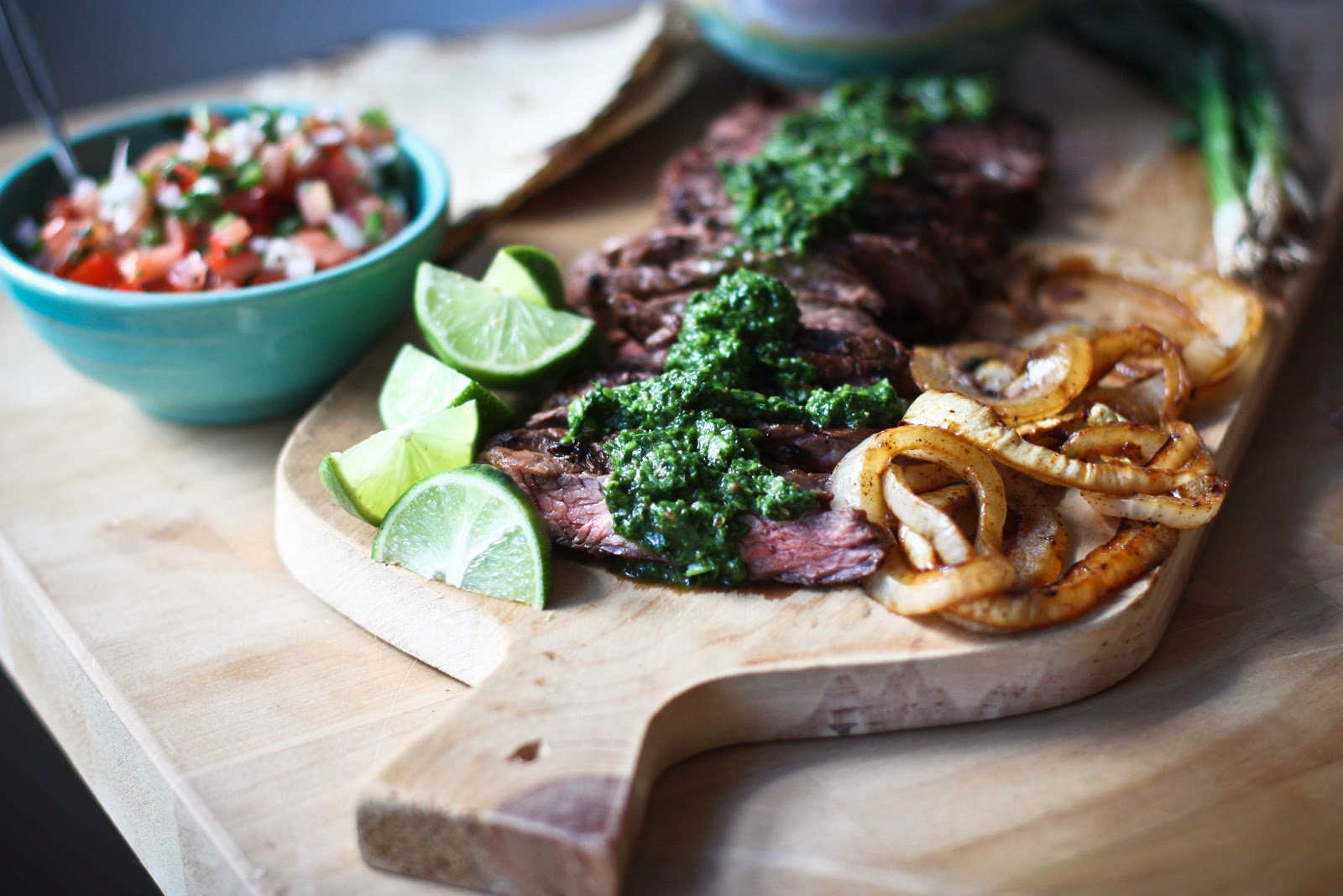Grilled Tender Hanger Steak Smothered In Vibrant Tangy Cilantro Mint ...