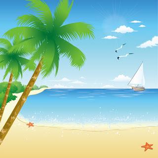 浜辺のヨットとカモメの背景 Tropical Beach イラスト素材