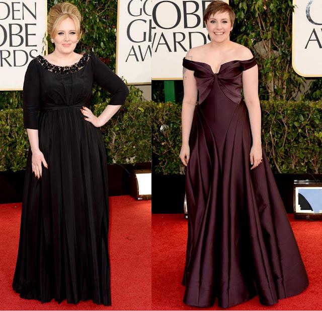 Look de Adele e Lena Dunham no Golden Globes 2013