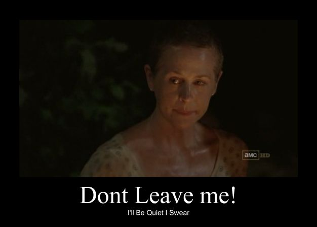 Walking Dead Don't leave me! I'll be Quiet I swear.