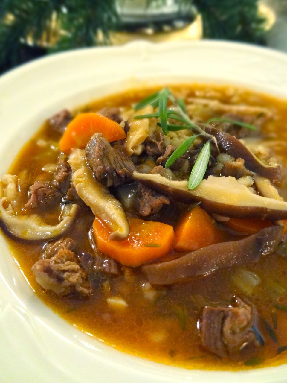 Scrumpdillyicious: Beef, Barley & Wild Mushroom Soup with Port