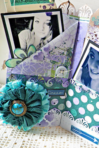 Accordion Fold Tag Pocket Mini Album Mood Board Tutorial by Lisa Novogrodski using BoBunny Enchanted Garden and Zip A Dee Doodle