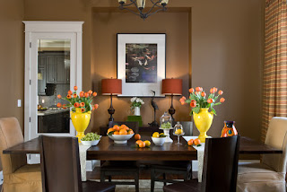 Cozy Brown Chairs around the Wooden Table in Comfortable Dining Room Decorating Ideas with Iron Chandelier